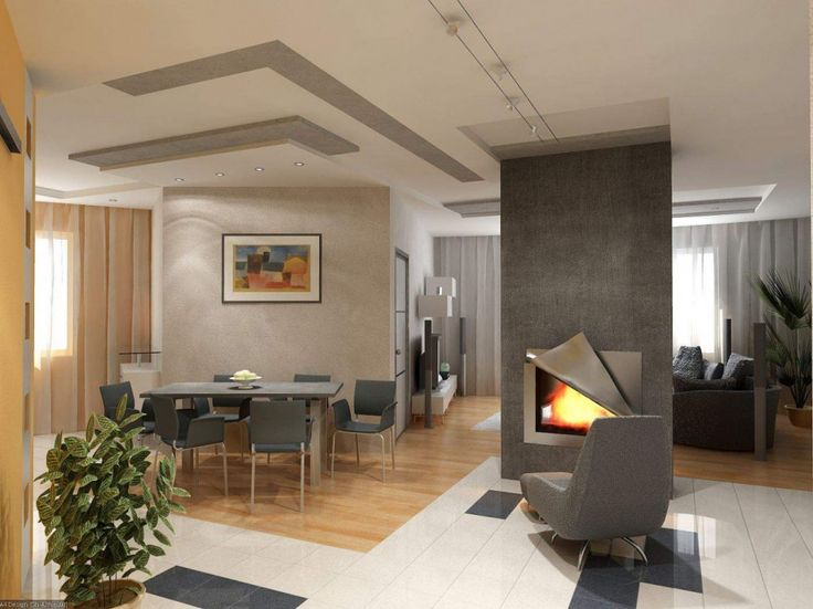 Dining Room:Outstanding Dining Room Interior With Grey Dining Set Cool Ceiling Grey Fireplace Grey Table Grey Chair Grey Fabric Chair Wooden Floor Beige Curtain Dawnlight Brown Vase Modern Dining Room Ceiling Decorating Ideas
