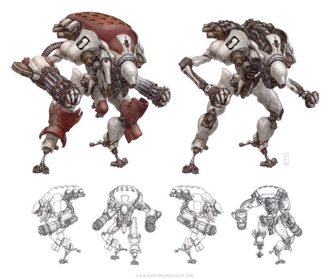Character Design Techniques Keith Thompson : Robot concept art by keith thompson character design