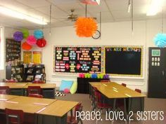 Peace, Love, 2 Sisters: Show and Tell Monday- Classroom Tour  black bulletin board looks great