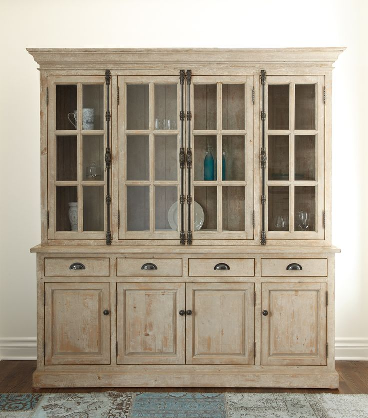 Windsor China Cabinet. Crafted Of Reclaimed, Distressed Pine In An Antiqued  White Finish,