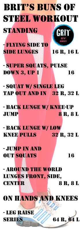 Check out Grit by Brit's Buns of Steel work out & video to tone and tighten!