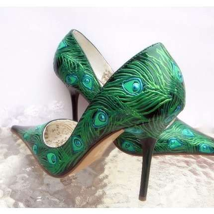 Peacock shoes! I just think they're pretty. No way I'd ever be able to wear them. Unless I was sitting down the entire time... lol <3~R~<3