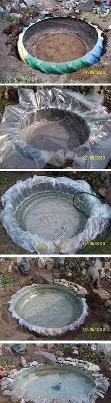 Great use of old tire use tire to create small backyard pond
