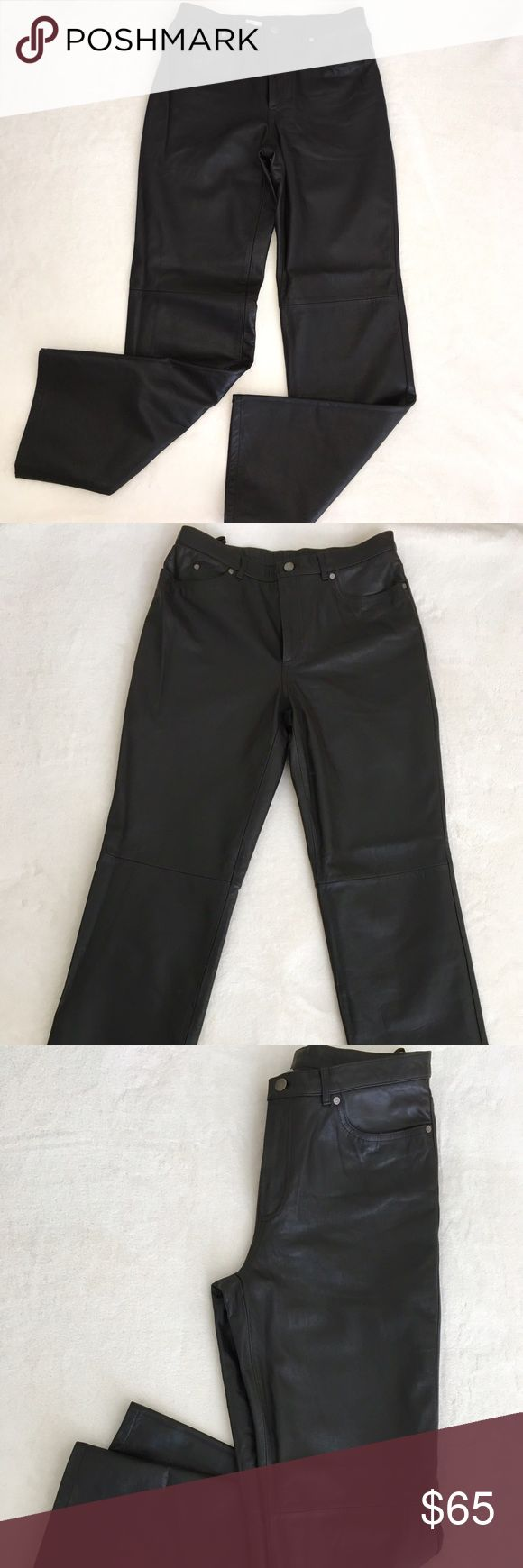 100% Real Leather Pants by Nine West 100% genuine leather pants by Nine West. Straight fit, lined. 32 inches inseam. Dark brown. Nice soft leather. Worn once. Matching jacket also for sale. Excellent quality and condition. Looks brand new! Nine West Pants Straight Leg