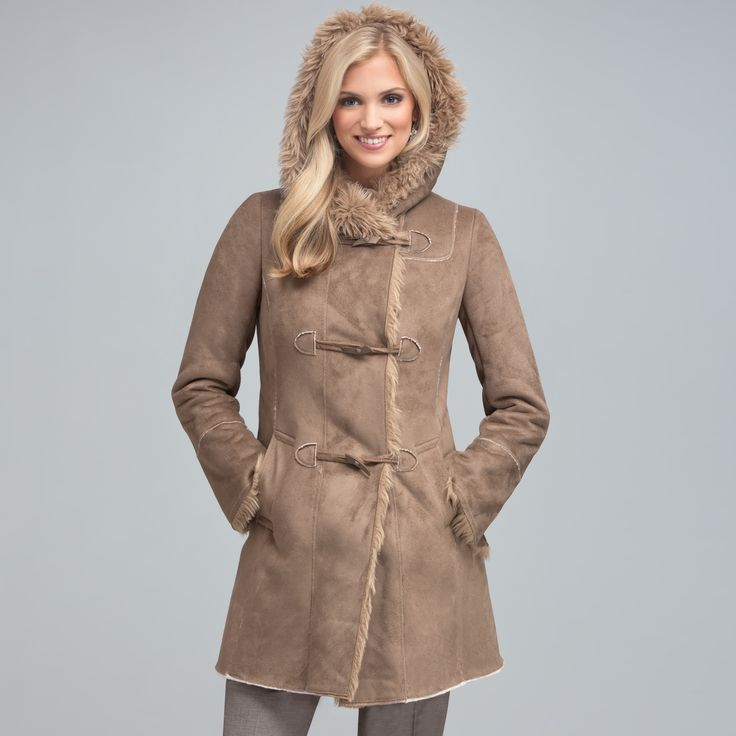 fashion over fifty winter | Jones New York Toggle Faux Fur Coat (was $295, now $222 )