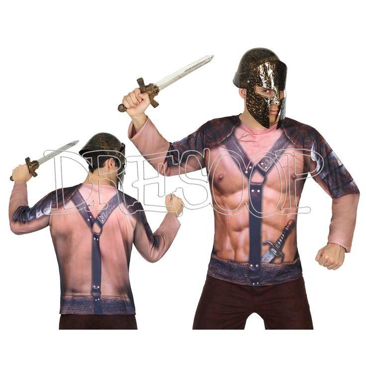Disfraz camiseta 3 D Espartano para hombre - Dresoop.es