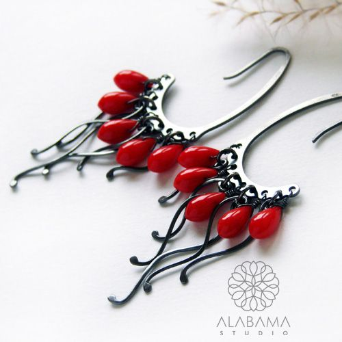 ALABAMA - Rafa koralowa - srebrne kolczyki z koralem    #polandhandmade, #alabama, #wirewrapping, #earrings, #coral, #christmas, #gift, #red, #santaiscoming