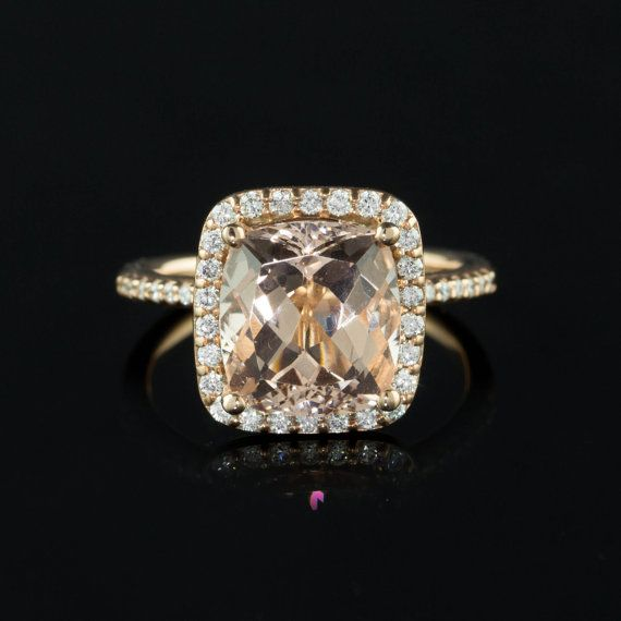 5 carat Morganite Engagement Ring with by LaurieSarahDesigns