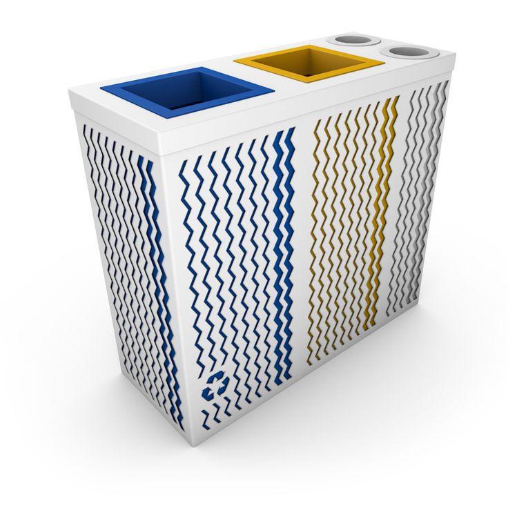 FONTAINE Poubelle design tri sélectif avec collecteur gobelets ou canettes Blanc
