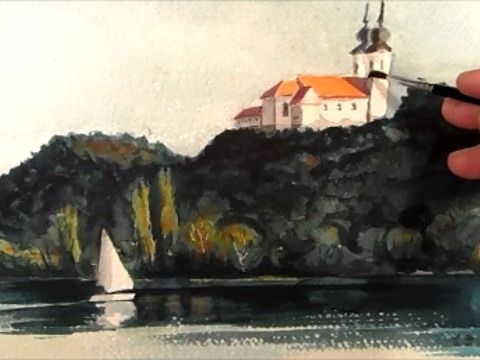How to Paint a Landscape in Watercolour. Balaton painting.<br />MUSIC: Zombies and Diamonds ... And The Journey Begins<br />By Vamos, copyright.