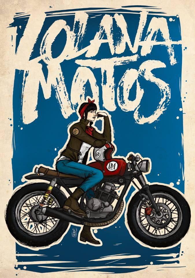 Lolana Motorcycles café racer girl illustration! [ source: Lolana Motos blog | more motorcycle art ]