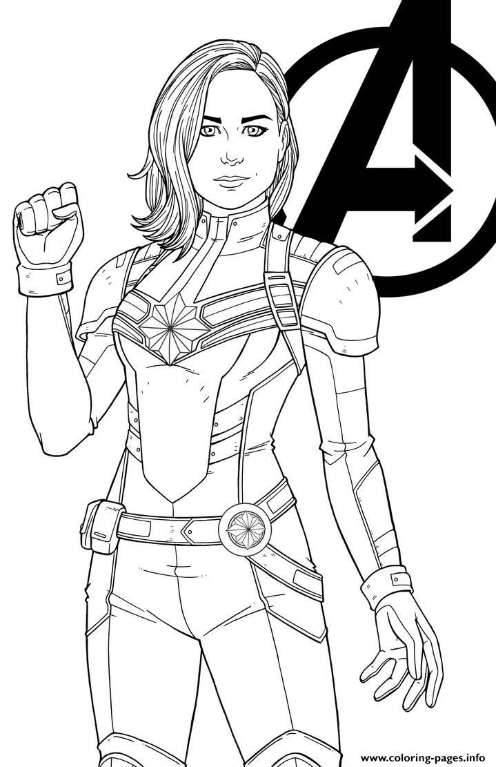 Print Captain Marvel By Jamiefayx Coloring Pages Marvel Coloring