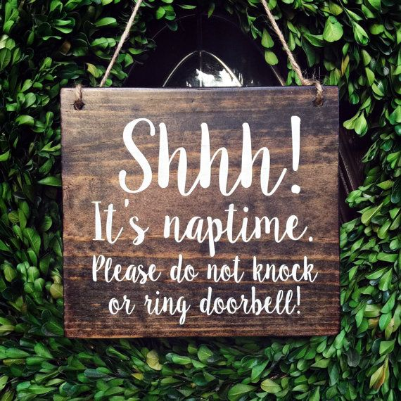 Baby Sleeping Sign 7x8 Shhh Its Naptime Door by TheWoodGrainHome