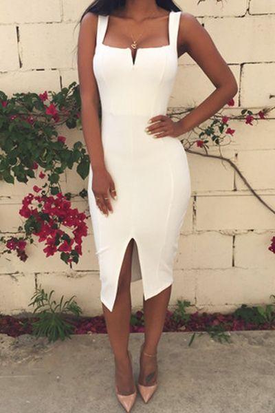 Solid Color Slit Bodycon Dress