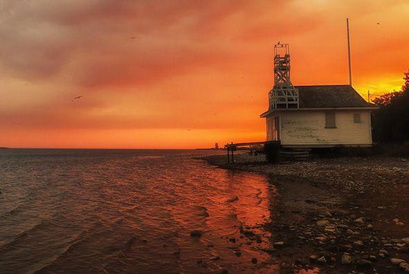 sunset over Cherry Beach, Toronto