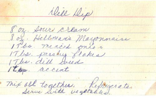 pictures of hand written recipes | Handwritten Dill Dip Recipe Card | RecipeCurio.com