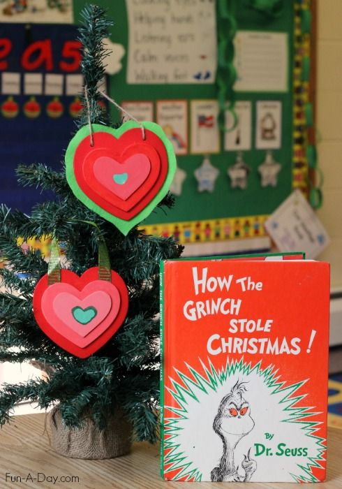 Homemade Christmas ornament kids and families can make together - The Grinch's growing heart