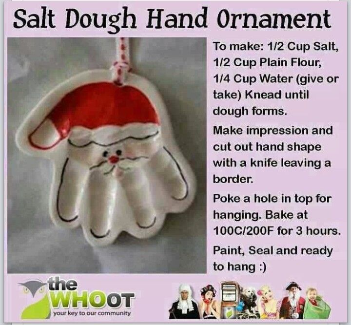 Salt dough hand ornament - Making these w/ the kids. Pretty good overall. Baked for 3 hours @ 200 degrees, but weren't completely cooked on the back side.
