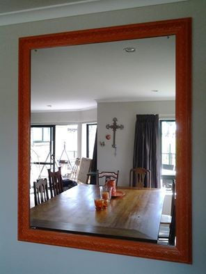 Mirror - found in skip bin - free.  Made framing from faming timber from local emporium $20.  orange spray paint $30.
