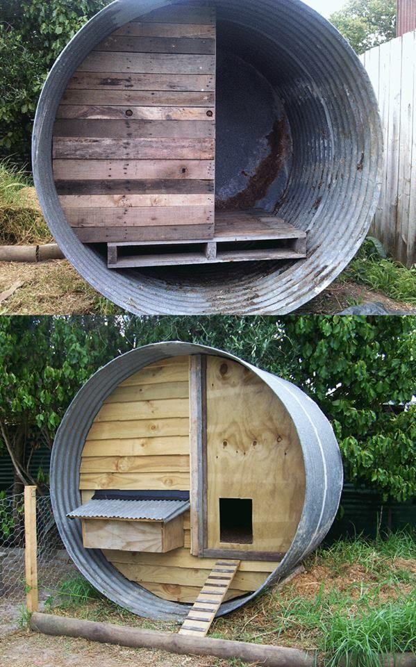 Water tank + Pallets = chicken coop
