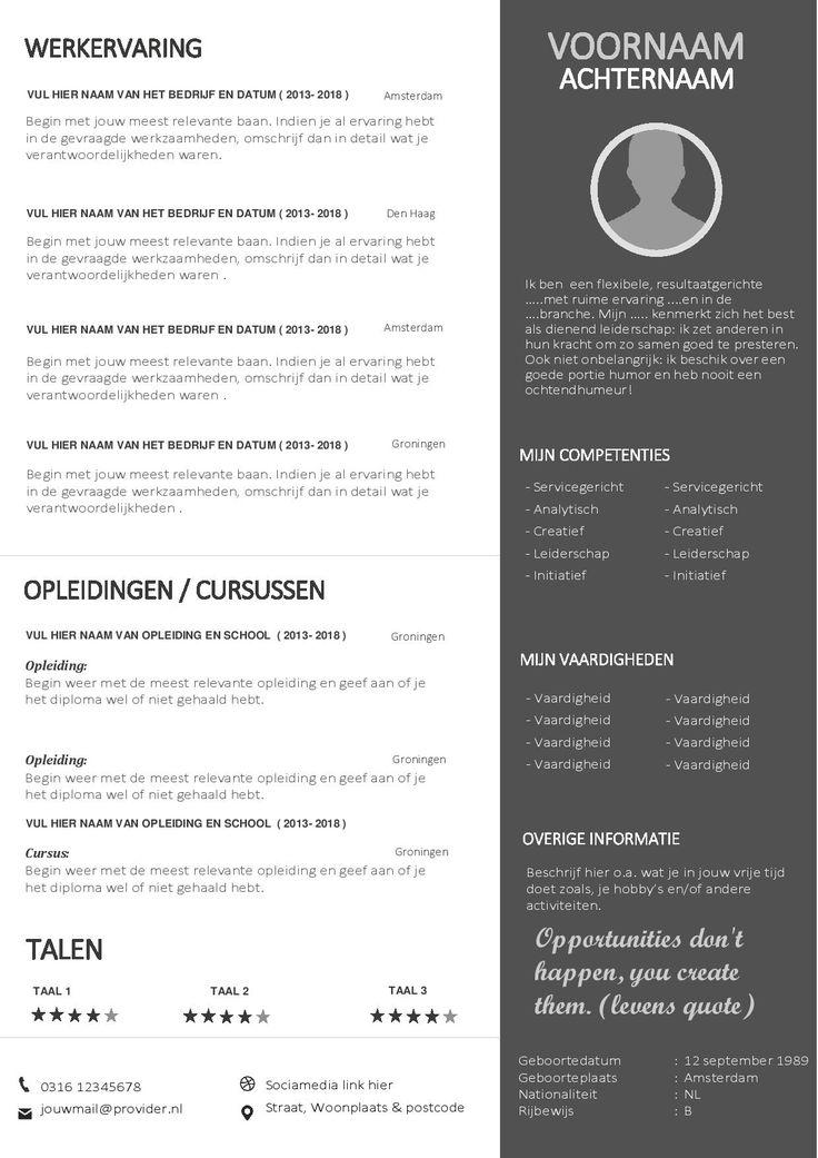 Modern Word CV Template Inclusief Passend
