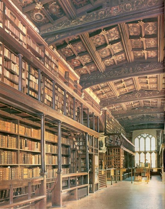 """The Bodleian Library, Oxford University, England. Known to Oxford scholars as ""Bodley"" or simply ""the Bod"", it serves as the main research library of the university."