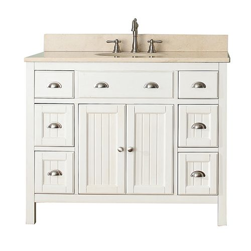 Avanity Hamilton French White 42 Inch Vanity Combo With Galala Beige Marble  Top