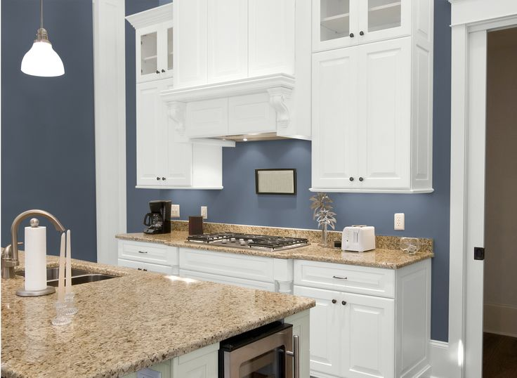 Kitchen in blue grey slate i love the color our for Dark blue kitchen paint