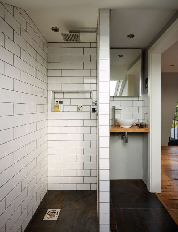 Good idea for an ensuite. Maybe a glass wall or a little window in the wall and then a huge floor to ceiling frosted window to make sure it isn't too cramped. Also heated flooring!