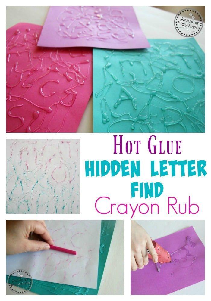 Hot Glue Hidden Letter Find Crayon Rub Activity - Great preschool or kindergarten letter recognition activity.