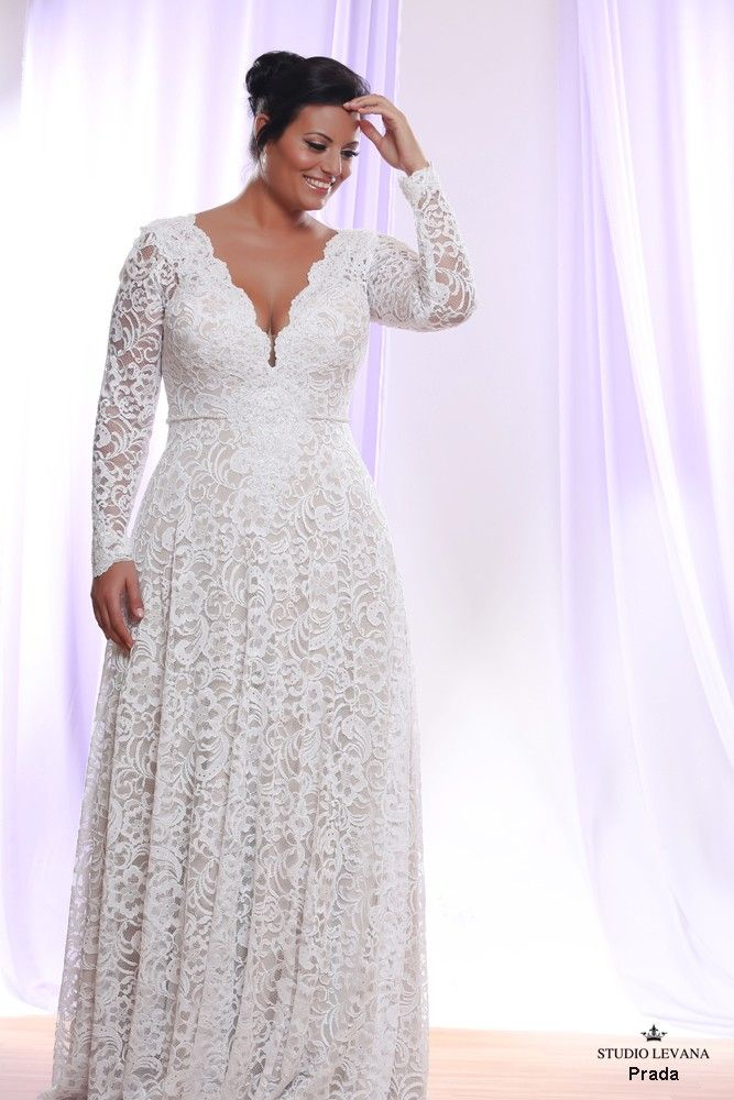 71bd03446b Signature plus size lace wedding gown with long sleeves. Prada ...
