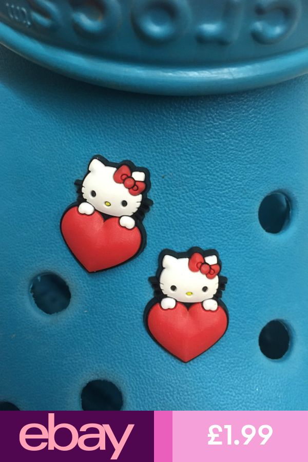 Free UK P/&P 2 Hello Kitty Love Heart Shoe Charms For Crocs /& Jibbitz Wristbands