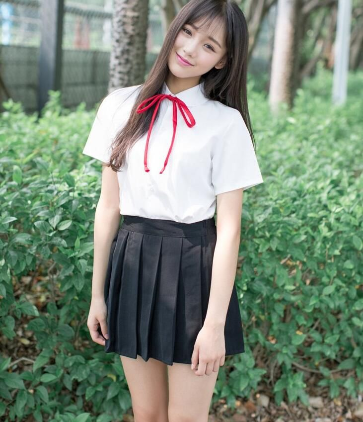 2017 summer Vintage Preppy Style School Dress Uniform Female Student School Uniform Class Service Shirt and Suspender Skirt Set