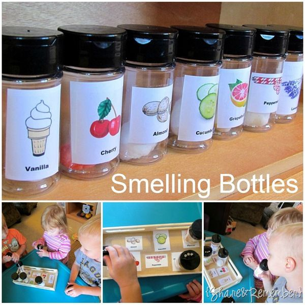DIY smelling bottles made from spice containers with a cotton ball and a few drops of cooking extracts or essential oils.