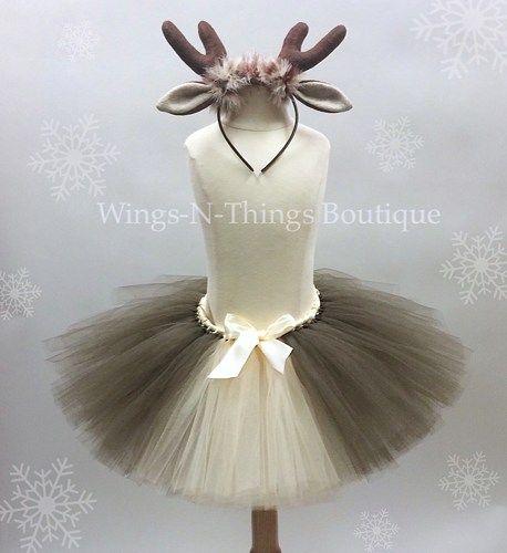 "Reindeer Tutu Skirt Children's Costume Set w/ Antler Headband   My adorable handmade Reindeer Tutu Skirt Costume Set is perfect for a First Christmas Photo Shoot! The tutu skirt is 10"" long with a str"