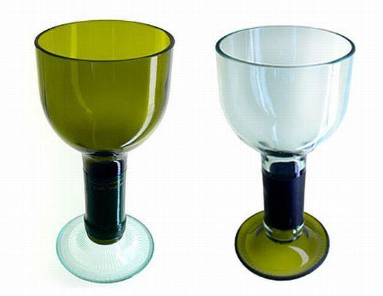 upcycled wine bottle wine glasses