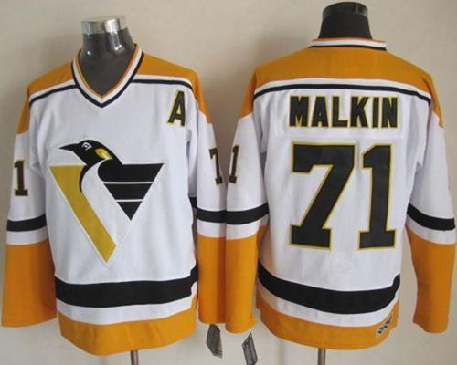 pittsburgh penguins evgeni malkin white yellow throwback ccm jersey fit mens premier jerseys are made to layer underneath.