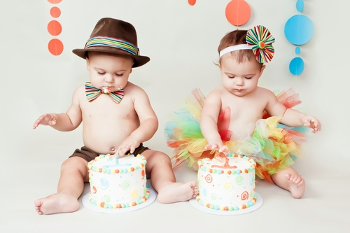 The cutest twin babys birthday by Kristeen Marie Photography
