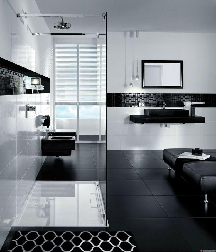 salle de bain lgante en noir et blanc - Tableau Salle De Bain Noir Et Blanc
