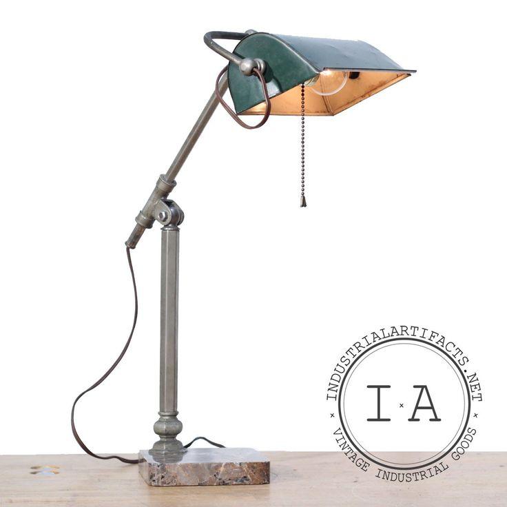 Vintage Industrial Banker's Desk Piano Lamp Granite Base Sliding Adjustable Arm