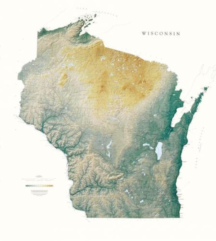 Wisconsin Physical Laminated Wall Map by Raven