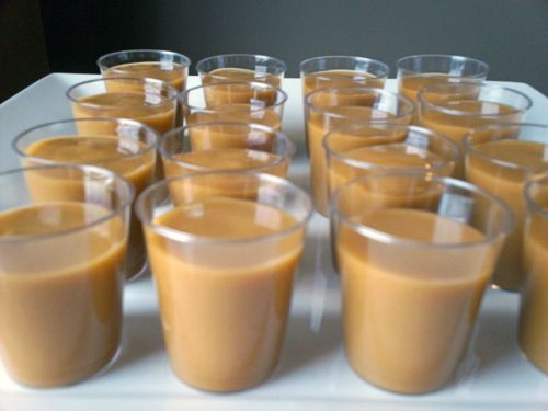 Pudding Shots! Yes, Really.  The possibilities are endless with flavors and alcohol combinations; basically all you need is:    Pudding mix  1.5 cups milk  1/2 cup alcohol    Yup, that's it!  For the shots above, I used butterscotch pudding and Kahlua!  Other great options would be Butter Ripple, Bailey's Irish Cream Caramel, etc.    Mmmm, what about chocolate pudding with Bailey's Mint?!