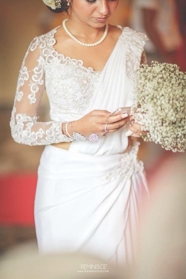 simple saree, elegant blouse