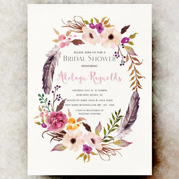 Bohemian Bridal shower Invitation - Feather bridal shower, Wreath bridal shower, printable Bridal Shower invitation