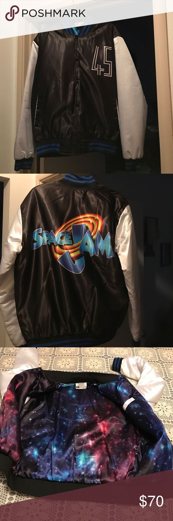 Space jam jacket Used Jordan retro space jam jacket worn 2 time but still in great condition and goes great with the space jam Jordan 11's Jackets & Coats Lightweight & Shirt Jackets