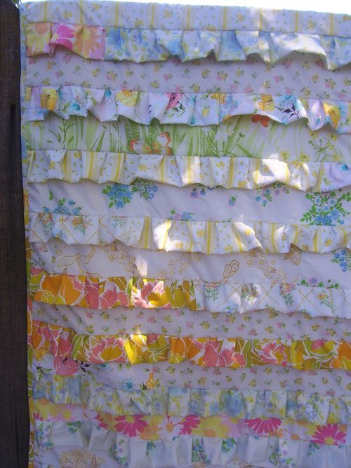 Ruffled quilt with vintage sheets from Under Construction.