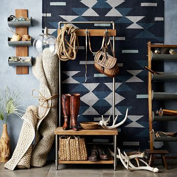Pipeline Hall Tree - Small #westelm (I also like the idea of hanging a cotton kilim-style rug on a wall)