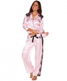 Playboy Boudoir Sleepwear Satin & Lace Long Pant - Light Pink