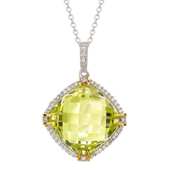 A cheerful lemon quartz and diamond cluster pendant. A cushion shaped lemon quartz of 11.75cts, set within 18ct yelllow gold four claws at compass points and surrounded by a border of round brilliant cut diamonds with a diamond set bale, of 0.13ct total weight, mounted in a fine 18ct white and yellow gold setting.