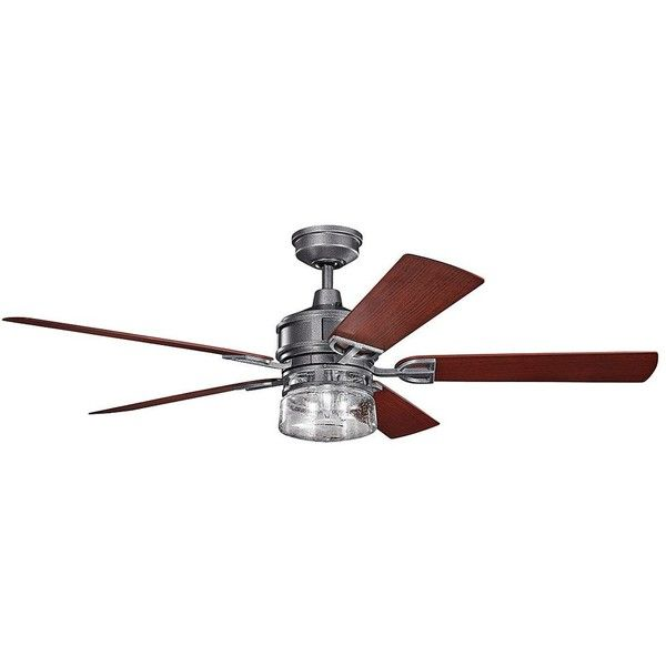 """Kichler 60"""" Lyndon Patio Weathered Steel Outdoor Ceiling Fan ($598) ❤ liked on Polyvore featuring home, outdoors, outdoor decor, ceiling fans, kichler, outdoor garden decor, outside garden decor, kichler ceiling fans and outside ceiling fans"""